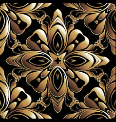 Gold baroque 3d seamless pattern old style vector