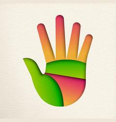 Green human hand cutout for environment help vector