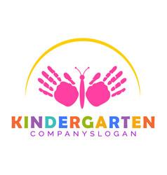 Hand print butterfly mascot kindergarten logo vector