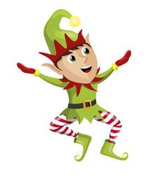 happy x-mas elf christmas character isolated on vector image