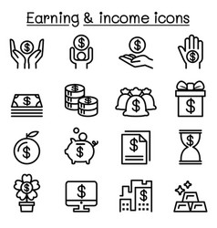 Income earning money icon set in thin line style vector
