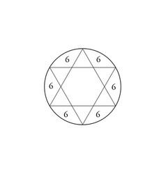 Kabbalistic tetragram star of solomon number 6 vector