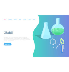 learn page science items flask and bulb vector image