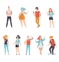 modern people with tattoos set men and women vector image