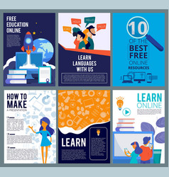 online education flyers brochure cover template vector image