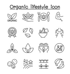 organic lifestyle icon set in thin line style vector image