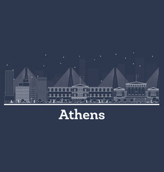 Outline athens greece city skyline with white vector