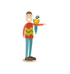 parrot owner male with his pet flat vector image
