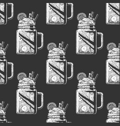 pattern with mason jar vector image
