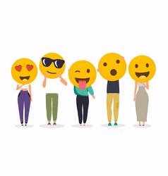 people holding different emoji sings vector image