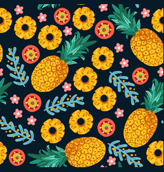Pineapple seamless patterntropical fruit vector