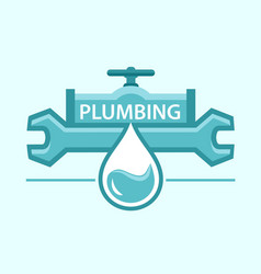 Plumbing symbol with pipe and wrench vector