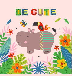 poster with cute hippo and parrot vector image