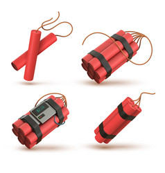 Realistic 3d red dynamite bomb with electronic vector