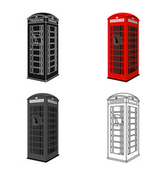 red phone cabin icon in cartoon style isolated on vector image