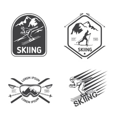 Retro skiing labels emblems and logos set vector