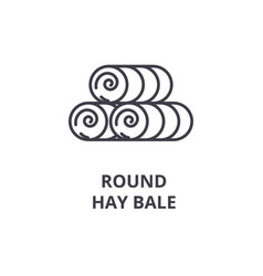 Round hay bale line icon outline sign linear vector