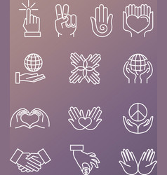 set linear hand icons and gestures vector image
