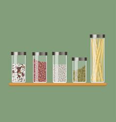 set of kitchen jar with cereals vector image