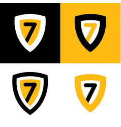 set of logo in black yellow and white vector image