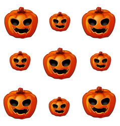set of ripe pumpkin with eyes and mouth jack-o vector image