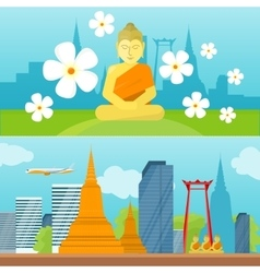 Set of Thailand Travel Poster vector image