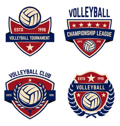 Set of volleyball champions league emblems design vector