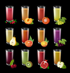 set realistic transparent glasses of juice on a vector image
