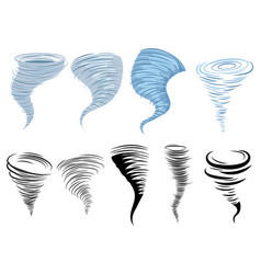 set tornadoes collection stylized tornadoes vector image