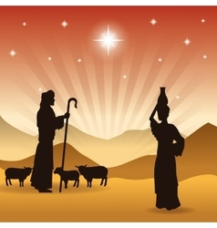shepherd and his sheeps icon graphic vector image
