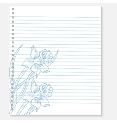 sketch of flower on a notebook sheet vector image