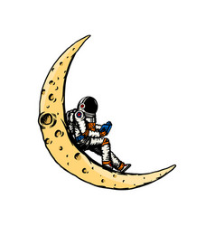 Spaceman on moon astronaut is reading a book vector