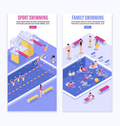 Sport swimming vertical banners vector