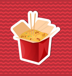 Sticker of noodles wok in paper box on red vector