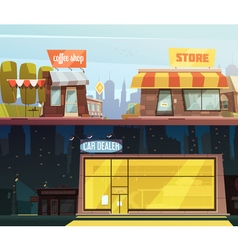 Store Buildings Banners Set vector