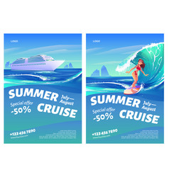 summer cruise posters with ship and surfer girl vector image