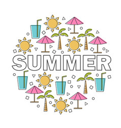 summer lettering with linear icons and vector image