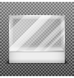 Transparent display glass box isolated on vector image