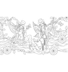 two beautiful fairies on a tree vector image