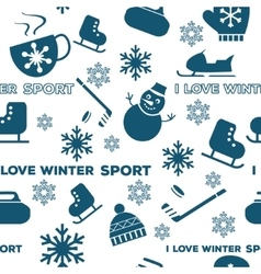Winter sports seamless pattern white vector image