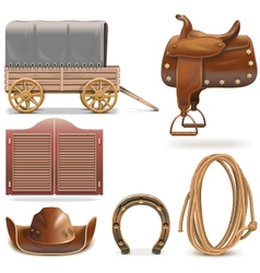 Cowboy Icons Set 2 vector image vector image