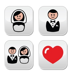 Groom and bride on round white labels vector image vector image