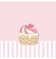 pink background with cupcake vector image