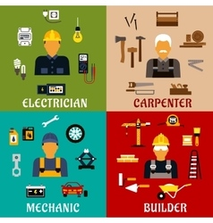 Builder electrician mechanic and carpenter icons vector image vector image
