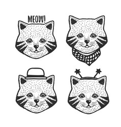 hand drawn cartoon cat head prints set vector image