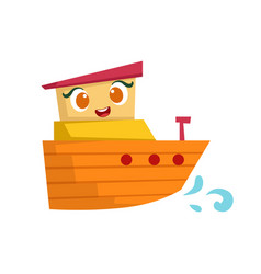 orange and yellow small boat cute girly toy vector image vector image