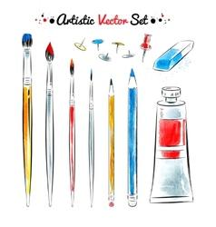 set of art tools vector image vector image