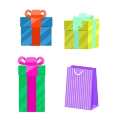 Set of gift boxes and paper bag vector image vector image