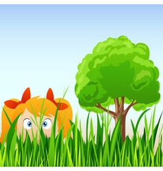cartoon little girl hide in grass vector image