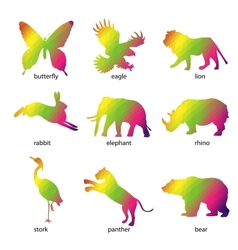 Colorful abstract animal icons vector image vector image
